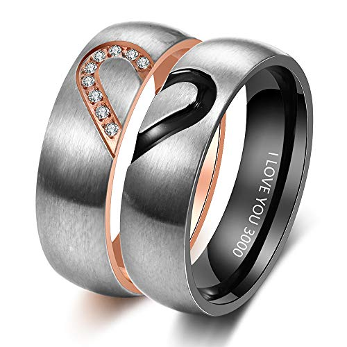 Personalized Couples Promise Ring Set for Him and Her Free Engraving Stainless Steel Engagement Wedding Rings Band Set for Men and Women Valentines Day Jewelry (Black+Rose Gold(ring set,2pcs)) -
