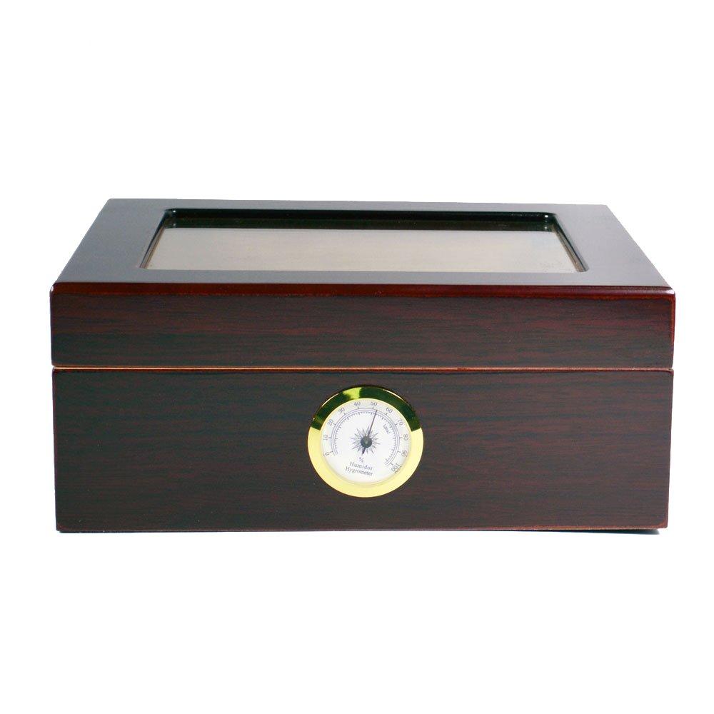 ガラストップ ヒュミドール シガー 葉巻ケース/湿度計 B002TOK352ブラウン