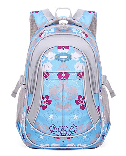 JiaYou Girl Flower Printed Primary Junior High University School Bag Bookbag Backpack(Style A Blue,24 Liters)