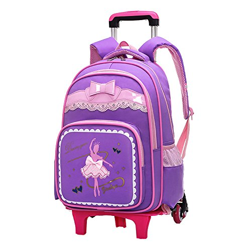 Fanci Bow-knot Dancing Girl Waterproof Elementary Trolley Rolling School  Backpack Book Bag for Primary Girls Wheeled Backpack Carry On Luggage with  Six ... da7fc2b6242cd