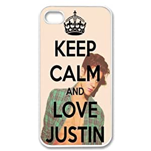 International Market Trading? Apple Iphone 4 4S Keep Calm and Love Justin Bieber White Sides Case Skin Cover Protector +with one random color Hair Ties WANGJING JINDA