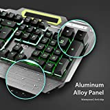 LeaningTech LTC K828 104 Key Anti-Ghosting RGB Rainbow LED Backlit USB Wired Water-Resistant Voice Control Function Illuminated Gaming Keyboard for PC Games Office - US Layout