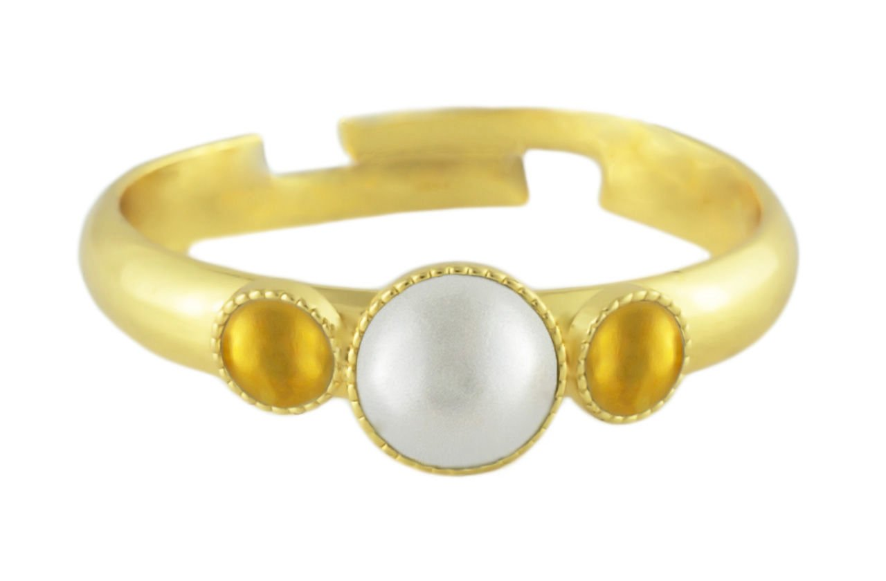 24K Gold Plated Minimalist Ring Adjustable Universal Size Round Trio oOo White Pearl Czech Glass Stone Handmade BohemStyle by Unknown (Image #1)
