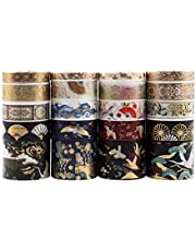 Dizdkizd 20 Rolls Washi Tape Set, Hot Stamping Washi Masking Tape for DIY Craft, Bullet Journal, Planners, Scrapbooking and Wrapping Gifts