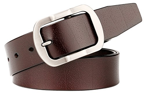 Designer Belts for Men,SUOSDEY Genuine Leather Casual Jeans Belt Brown (Brown Designer Belts)