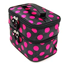 Changeshopping(TM)Chic Lady's Wave Dot Case Makeup Double Cosmetic Hand Bag Tool Storage Toiletry (Black hot pink)