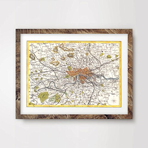 LONDON CITY VINTAGE MAP ART PRINT POSTER Britain British UK Antique Historical Home Decor Wall Picture A4 A3 A2 (10 Sizes)