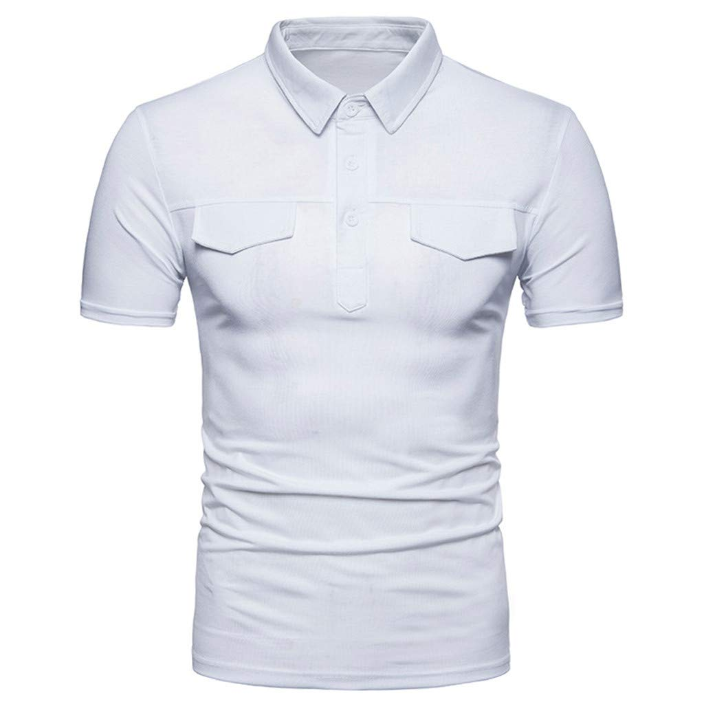 POQOQ Men Casual Solid Turn-Down Collar Short Sleeve T-Shirt Tops Blouse