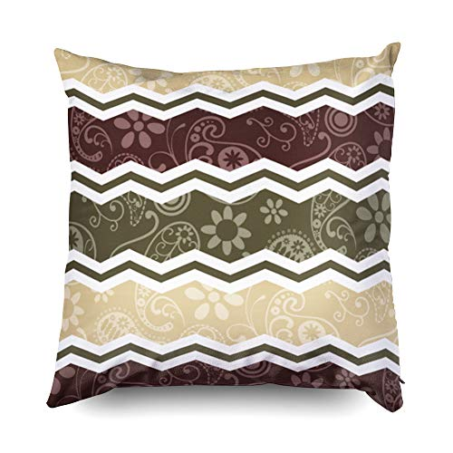 TOMWISH Hidden Zippered Pillowcase Beige Dark Brown and Olive Green Paisley 16X16Inch,Decorative Throw Custom Cotton Pillow Case Cushion Cover for Home Sofas,bedrooms,Offices,and More