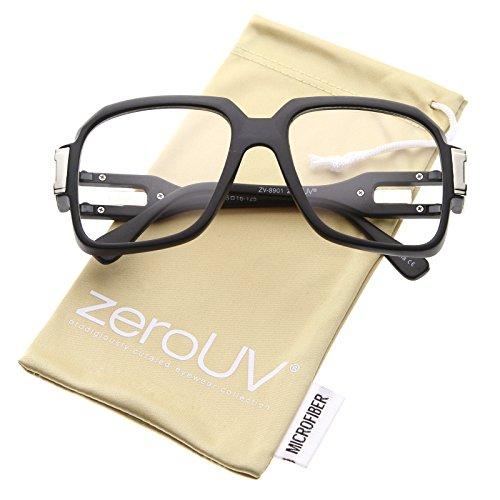 zeroUV - Large Retro Hip Hop Style Clear Lens Square Eyeglasses 54mm (Matte Black-Silver / - Hip Eyeglasses Hop