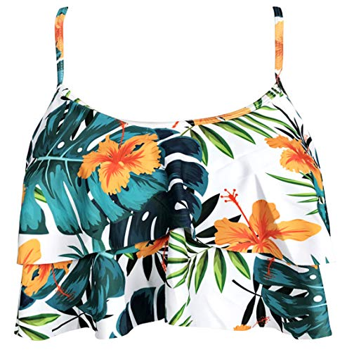 Gabrielle-Aug Women's Retro Falbala Soild Floral Flounce Bikini Top Chic Swimsuit(FBA) (10, Pink Floral)