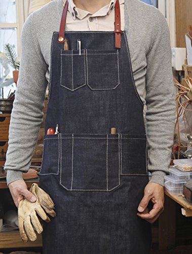 [Home-organizer Tech Multi-Use Detachable Tool Apron Heavy Duty Denim Jean Work Apron Salon Barber Hairdressers Apron BBQ Gril Housewife Apron with Pockets, Adjustable for Men & Women] (50 Housewife Costume Ideas)