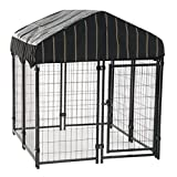 Image of Heavy Duty Dog Cage – Lucky Dog Outdoor Pet Playpen – This Pet Cage is Perfect For Containing Small Dogs and Animals. Included is a Roof and Water-Resistant Cover (4'W x 4'L x 4.3'H)