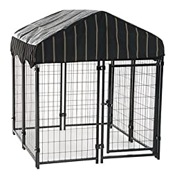 Heavy Duty Dog Cage – Lucky Dog Outdoor Pet Playpen – This Pet Cage is Perfect For Containing Small Dogs and Animals. Included is a Roof and Water-Resistant Cover(4'W x 4'L x 4.3'H)