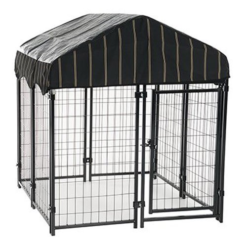 Heavy Duty Dog Cage – Lucky Dog Outdoor Pet Playpen – This Pet Cage is Perfect For Containing Small Dogs and Animals. Included is a Roof and Water-Resistant Cover (4'W x 4'L x (Pet Enclosure)