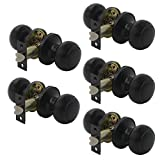 Probrico Flat Ball Interior Door Knobs Handle Black Passage Knobs for Hall or Closet, Pack of 5