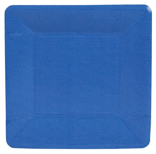 (Entertaining with Caspari Grosgrain Paper Salad/Dessert Plates, Marine Blue, Pack of 8)