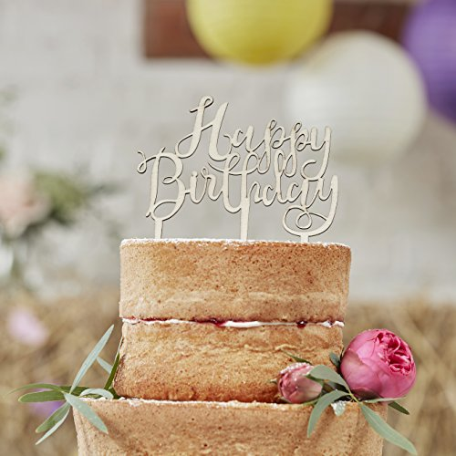 Ginger Ray BH-762 Happy Birthday Boho Wooden Cake Topper Decoration, Brown by Ginger Ray (Image #1)