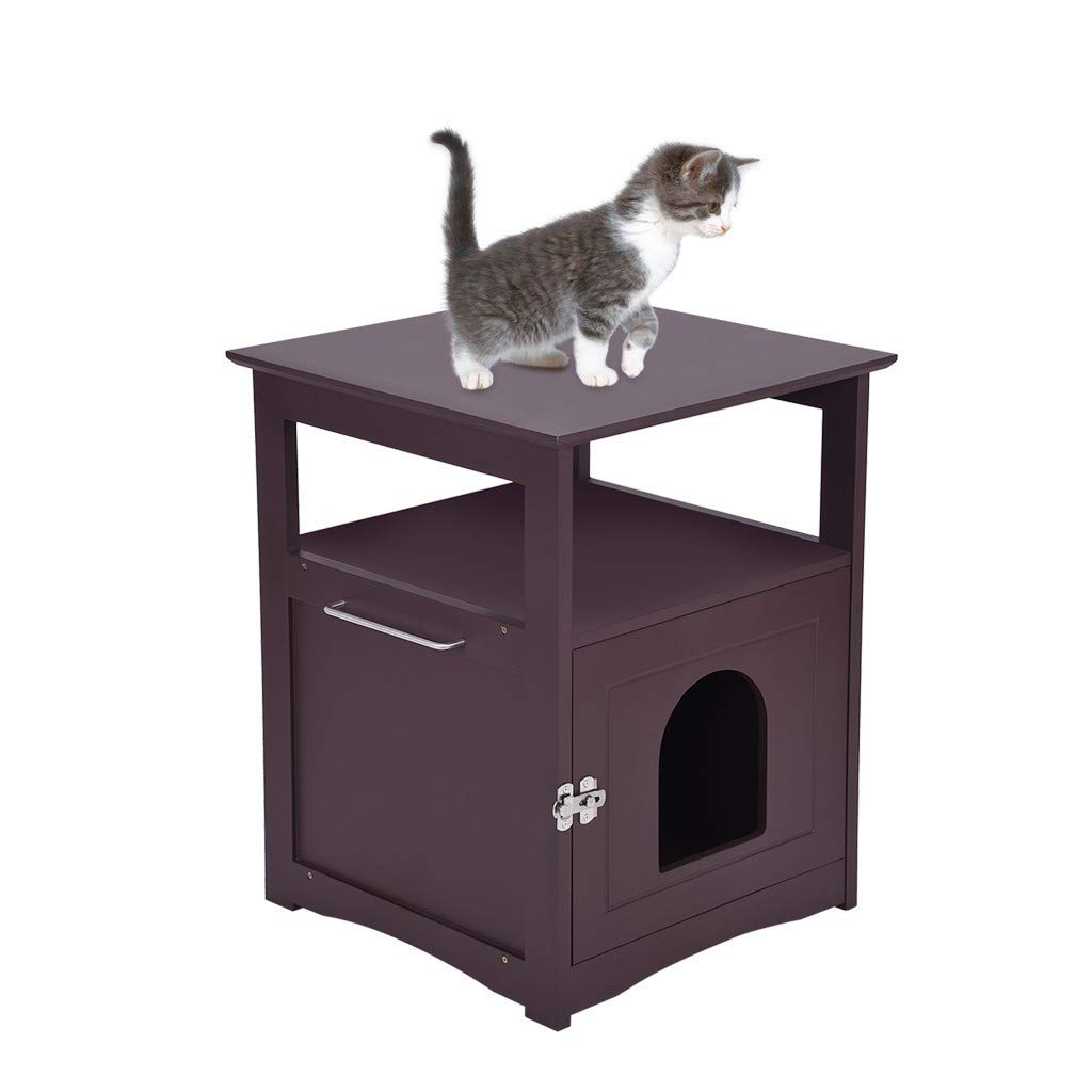 Cat House Side Table Pet Nightstand Crate Cat Litter Box Enclosures Decorative Cat House by AOmahh Home&Computer Desk