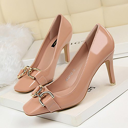 hebilla de Heel tacón Xue zapatos de de alto bien metal sólido cuero jefe Shoes Qiqi Calidad color pintado único de partido de alta Rosa con del gwOT1qgr
