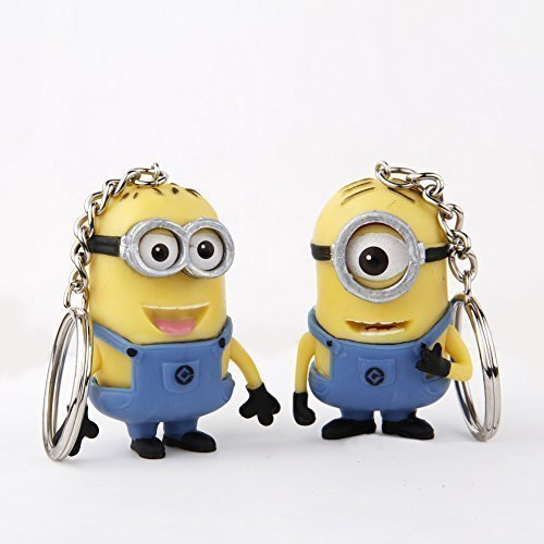 Cute Cartoon Despicable Me 3D Eye Small Minions Anime Doll Rubber Action Figure classic Kid toys Key Chains Free Shipping by Worldwidesale