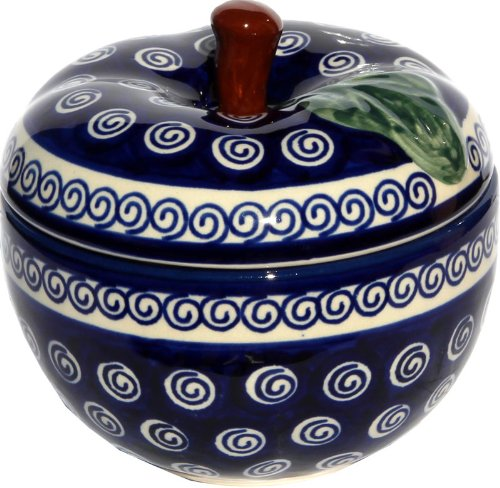 Polish Pottery Apple Baker From Zaklady Ceramiczne Boleslawiec #1425-174a Classic Pattern, Dimensions: Width: 4.9
