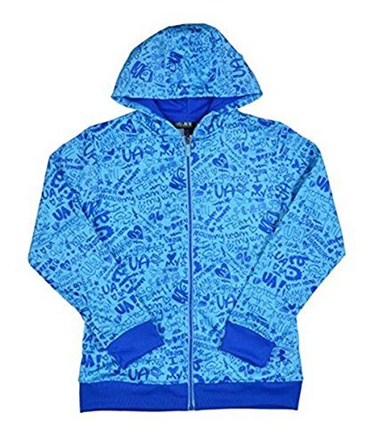 Under Armour Girls' UA Logo Full Zip Graphic Hoody-Blue-Large by Under Armour