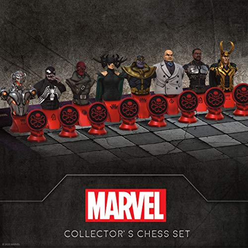 Marvel Collector's Chess Set | Custom Sculpted Chess Pieces Marvel Superheros & Villains | Iron Man & Thanos as King | Captain Marvel & Hella as Queen | Officially Licensed Marvel Chess Set