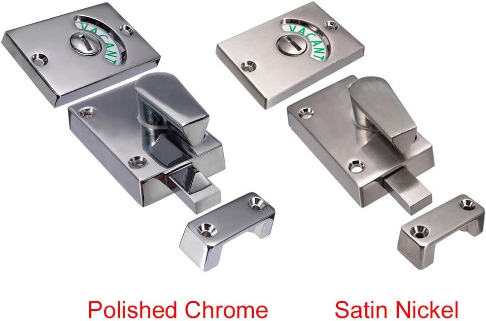 Nickel satin/é Bolt Privacy Vacant Indicator Toilette Engag/ée Serrure Porte Salle Bain Loquet Toilette