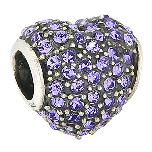 Love Heart Birthstone Authentic Sterling Bead Fits Pandora Charms (Amethyst February Birthstone)