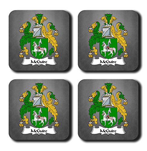 McGuire Coat of Arms/Family Crest Coaster Set, by Carpe Diem Designs – Made in the U.S.A. -