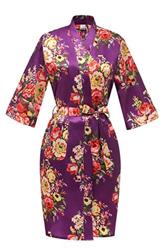 J.ROBE Women's Printed Floral Short Kimono Robes Bridesmaid Robe with Pockets Plum-S