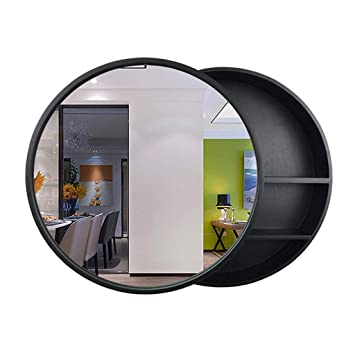 Amazon Com Sdk Round Bathroom Mirror Cabinet Bathroom Wall Storage Cabinet Sliding Mirror Medicine Cabinet With Steel Gliding Stainless Wooden Frame 3 Level Color Black Size ø50cm Beauty
