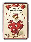 Cavallini Vintage ValenTine Glitter Greetings, 12 Assorted Postcards