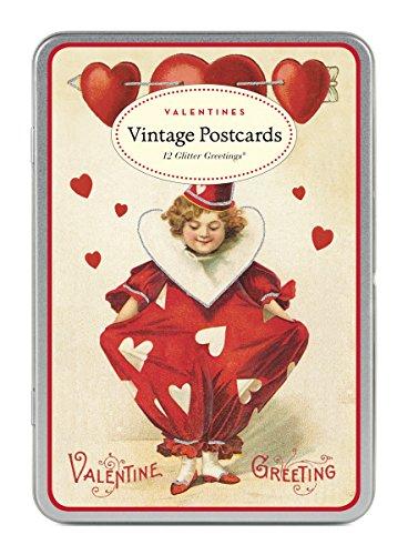 Cavallini Vintage ValenTine Glitter Greetings, 12 Assorted Postcards by Cavallini & Co.