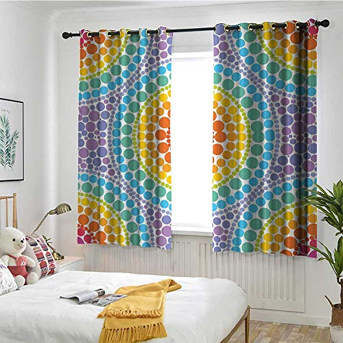 MaryMunger Rainbow Custom Curtain Concentric Circles Retro Inspired Color Scheme Psychedelic Art Dotted Pattern Blackout Draperies for Bedroom W 63