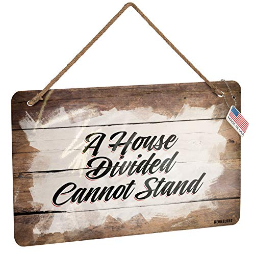 - NEONBLOND Metal Sign Vintage Lettering A House Divided Cannot Stand Christmas Wood Print