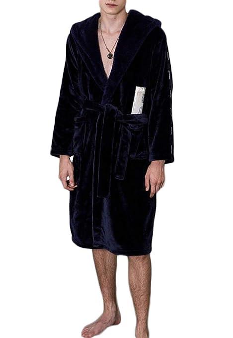 GKKXUE Masculinas de otoño e Invierno Batas Batas de baño de Hombres y Pijamas (Color