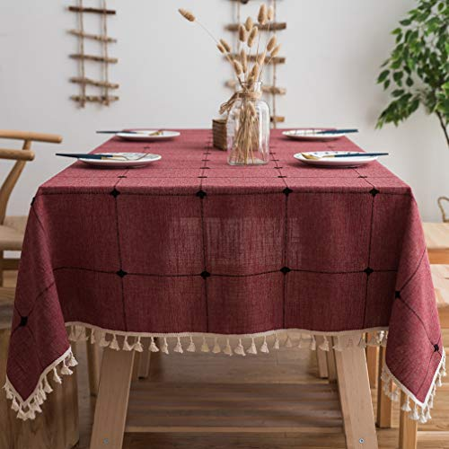 Pahajim Linen Rectangle Tablecloth Table Cloth Heavy Weight Cotton Linen Dust-Proof Table Cover for Party Table Cover Kitchen Dinning (Red, Rectangle/Oblong,55 x 71 Inch) (Red Table Cloths Linen)