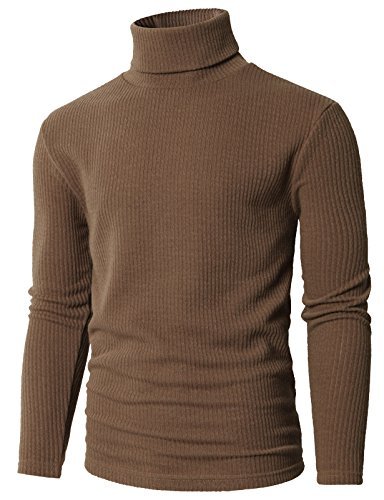 H2H Mens Casual Basic Slim Fit Turtleneck Knitted Pullover Sweaters Beige US M/Asia L ()