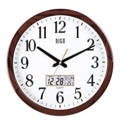 hito Extra Large Oversized Silent Non-ticking Wall Clock- Glass Cover, Date, Indoor Temperature, Week (15 inches, Wood+ LCD)