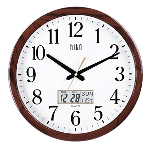 hito Modern Extra Large Oversized Silent Non-ticking Wall Clock- Glass Cover, Date, Indoor Temperature, Week (15 inches, Wood+ LCD) (Wall Clock Plastic)