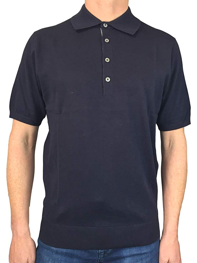 Paul Smith Mens Short Sleeved Fitted Knit Polo Shirt in Navy Blue