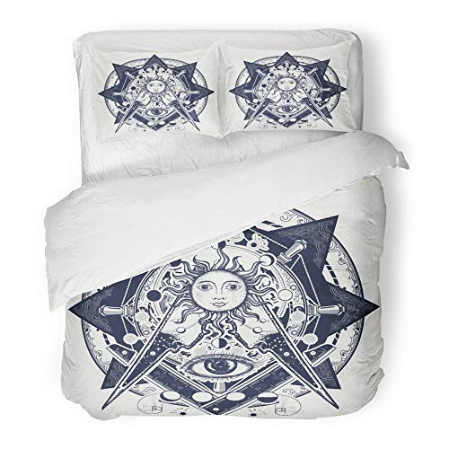 Emvency Bedding Duvet Cover Set Full/Queen Size (1 Duvet Cover + 2 Pillowcase) All Seeing Eye Alchemy Medieval Religion Occultism Spirituality and Esoteric Hotel Quality Wrinkle -