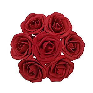 J-Rijzen Jing-Rise 30pcs Dark Red Real Looking Artificial Flowers Fake Roses Ror Wedding Flowers Centerpieces Bridal Bouquet Photo Frame Green Garland Wedding Cake Decoration(Dark Red) 61