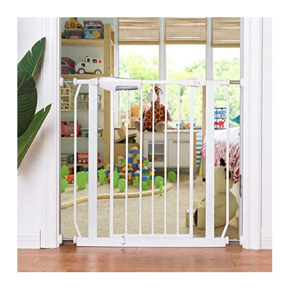 A Baby Cherry Baby Safety Gate :: Metal Bars & Sturdy Lock, Extra Wide(75cm-83cm) & Tall(76 cm), Opens with one Hand