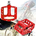"Bicycle Pedals - Mountain Bike Pedals - Alloy Cycling Sealed Bearing Universal 9/16"" Road Bike Pedals w/ 16 Anti-skid Pins - Flat Platform Pedals - Lightweight Bike Accessories for BMX/MTB Bike"