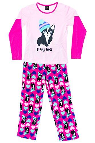Just Love Two Piece Girls Pajamas Set, Pug Me Hearts,Pug Me Hearts,7-8 -