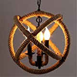 BAYCHEER HL371869 Industrial Retro Style Metal Hemp Rope Globe Cage Round Pendant Lamp Fixture Pendant Light Chandelier with 3 E12/14 bulbs