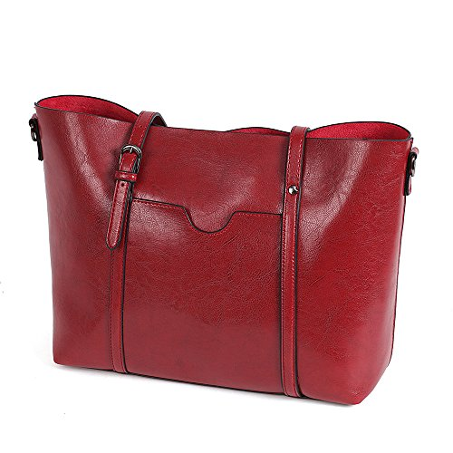 Vovoye Women Bag Casual Faux Leather Large Size Vintage Shoulder Bag Cross Body Bag Ladies Handbag for Work Travel Satchels for Girls,Coffee Wine Red